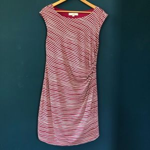 Loft burgundy and white striped ruched dress